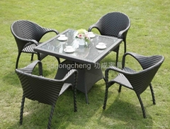 PE Rattan Dining set hotel furniture Indoor furniture Restaurant furniture