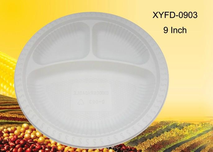 biodegradable plastic plates 9 inch 3 compartments 1 ... & biodegradable plastic plates 9 inch 3 compartments - XYFD0903 - XYF ...