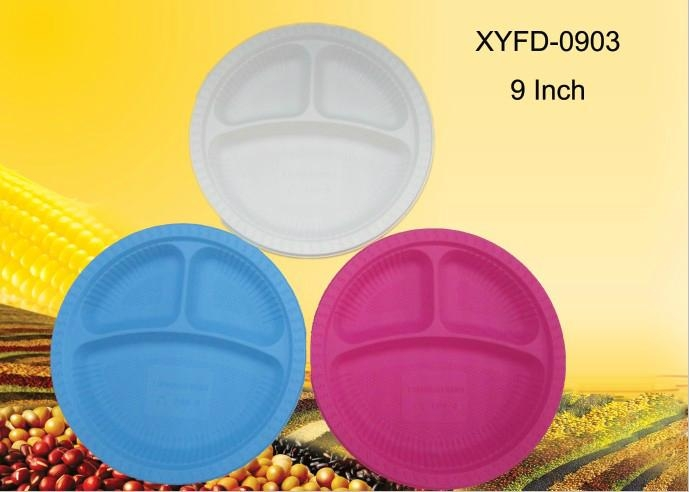 biodegradable plastic plates 9 inch 3 compartments - XYFD0903 - XYF ...