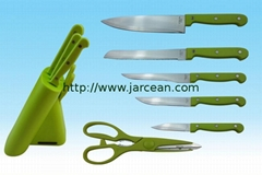 Ceramic/non-stick coating knives set with different color