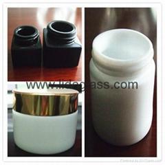 White porcelain glass bottle cream jars