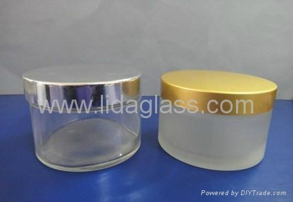 Glass frosted cream jar  3