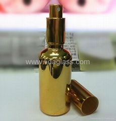 Electroplating glass bottle with sprayer