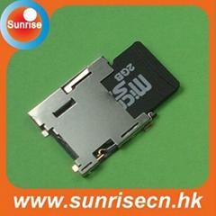 Push push micro sd card connector