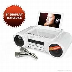 Karaoke DVD Player with 9 inch Digital Screen TV FM DVD player Game Li-Battery