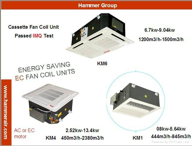 Ceiling Concealed Mounted Cassette 4 Way Fan Coil Unit