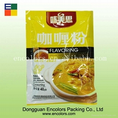 Plastic seasoning packing bag with tear notch