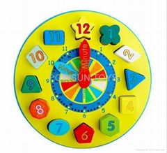 Wooden multicolour Wooden toy Digital Geometry Clock Children educati