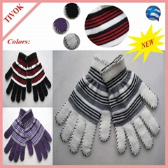 95% Acrylic 5% Spandex Ladies Magic Glove with 2 Color Stripes and Blanket Stitc