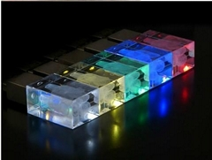 Crystal usb stick with logo lase inside with colorful led lights