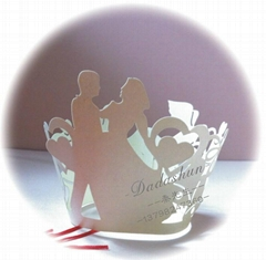 Wholesale custom wedding upscale cake paper cups around edge laser hollow