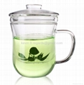tea mug with glass filter&lid 350ml