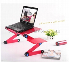 Height ajustable folding laptop table with USB fan and mouse pad