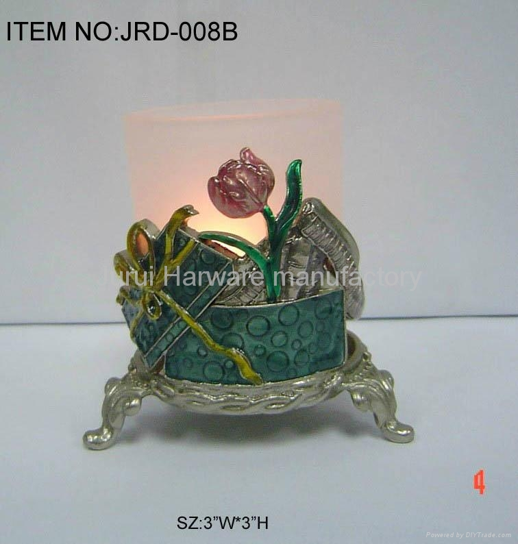 Metal candle holder with colorful epoxy flowers 2