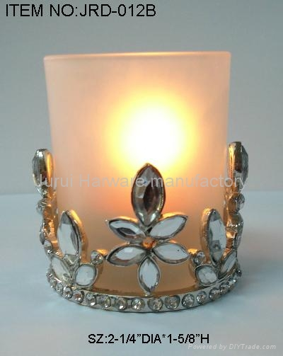 Metal candle holder with colorful epoxy flowers 3