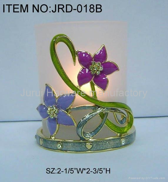 Metal candle holder with colorful epoxy flowers 5