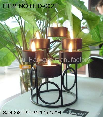 Iron candle holder with black painting 2