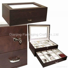 Latte Brown Leather 10PC.Wooden Watch Box