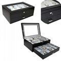 Black Leather Wooden Watch Box