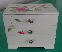Pink Flower White Wooden Jewelry Box