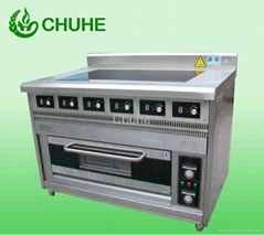 Electric cooker range with 6 burner and an oven