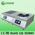 Induction cooker with concave and flat