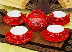 中國紅瓷美玲茶具