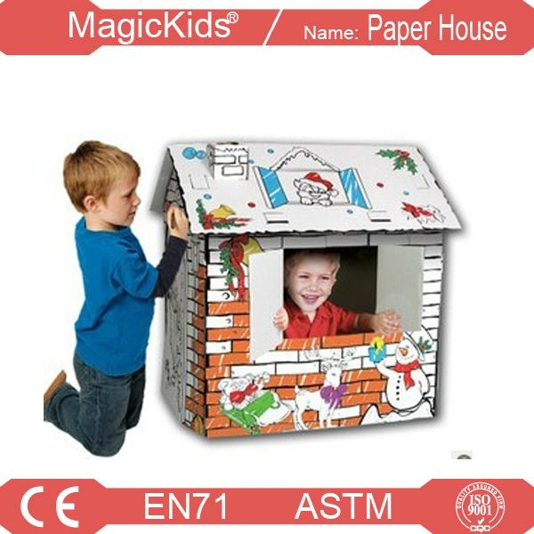 DIY Hand-painted Paper playhouse for Kids 1