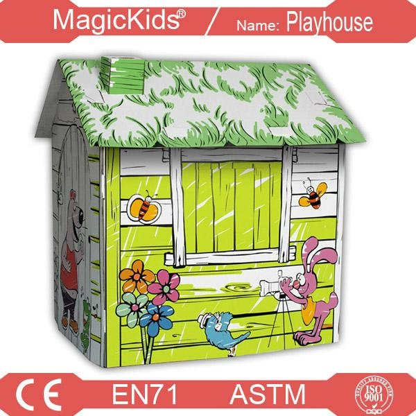 DIY Hand-painted Paper playhouse for Kids 3