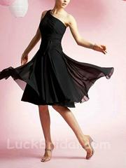 Chic Black One Shoulder Chiffon Prom Dress Knee Length Bridesmaid Dress