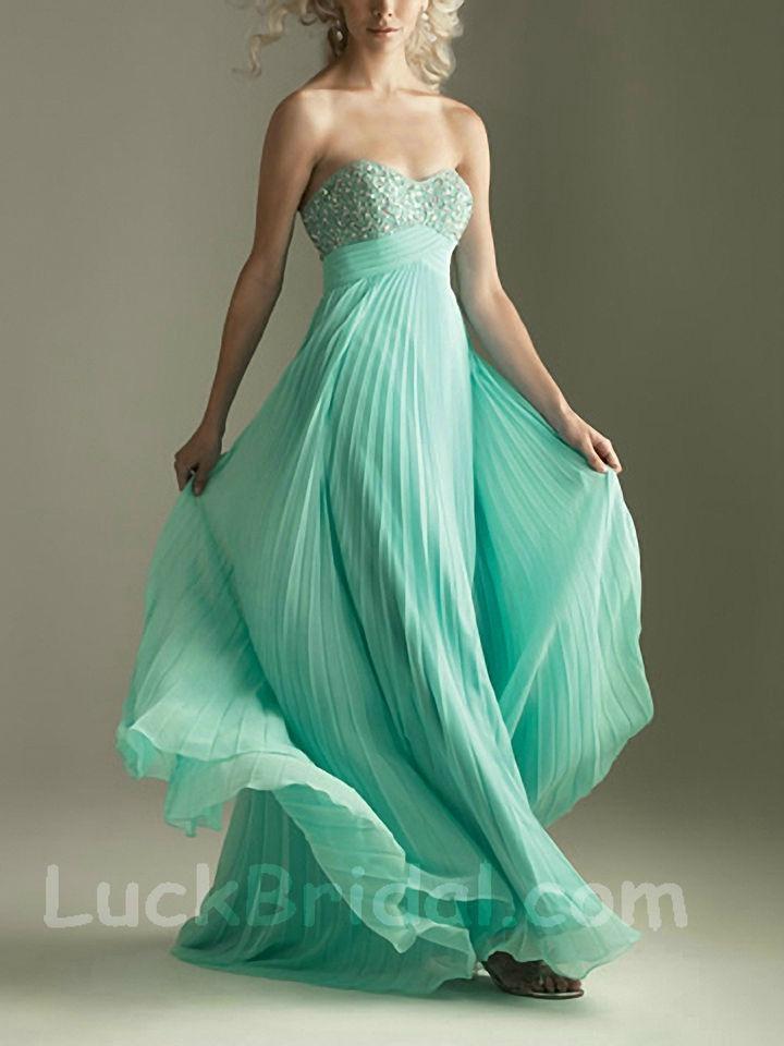 Glamour Mint Pleated Chiffon Sweetheart Evening Dress Sweep Train Beading Evenin 1