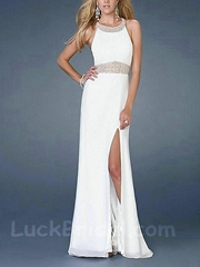 Glorious Halter Chiffon Prom Dress White Beading Prom Gown