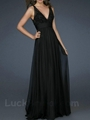 Black A Line Prom Gown Chiffon Floor
