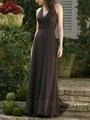 Fitting Brown Chiffon Bridesmaid Dress V