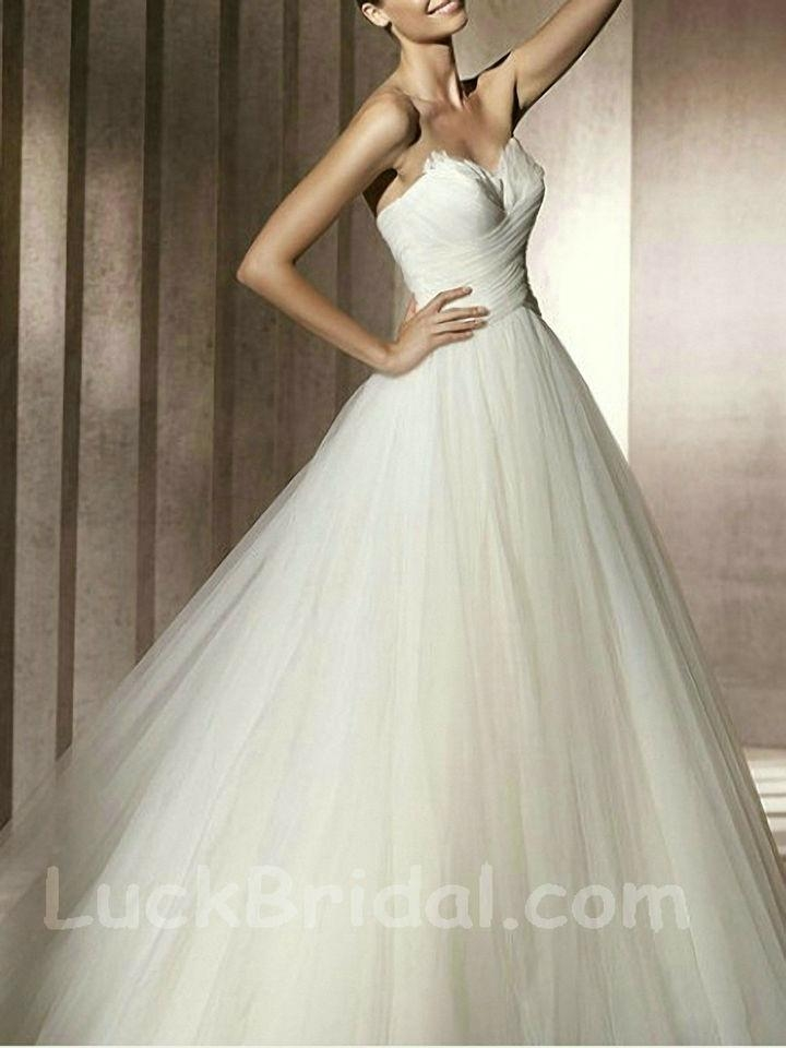 Chic Sweetheart Satin Ball Gown Ruffled Chapel Train Wedding Gown 1