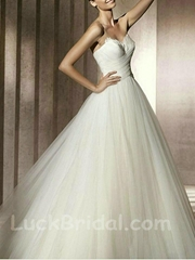 Chic Sweetheart Satin Ball Gown Ruffled Chapel Train Wedding Gown