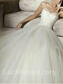 Chic Sweetheart Satin Ball Gown Ruffled Chapel Train Wedding Gown 3