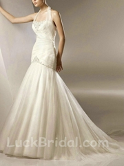 Halter Top Organza Wedding Dress Mermaid Applique Bridal Gown
