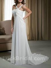 Cool Chiffon Halter Top Bridal Gown Summer Beach Court Train Wedding Dress