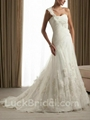 A Line One Shoulder Wedding Dress Appliques Organza Satin Bridal Dress