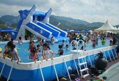支架游泳池海豚滑梯