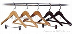 Wooden hanger for hotel guest room