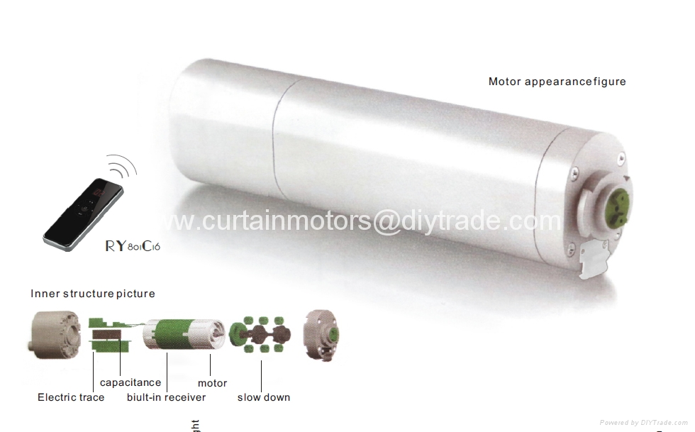 Electric Curtain Drapery Motor With Remote Control System Ry1011 Roya China Manufacturer