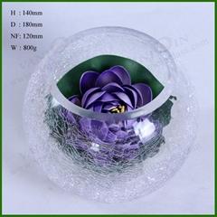 Crackled Round Glass Vase