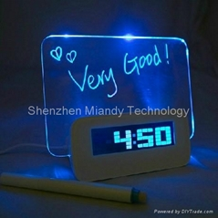 HIGHSTAR Blue LED Luminous Message Board Digital Alarm Clock with 4-Port USB Hub