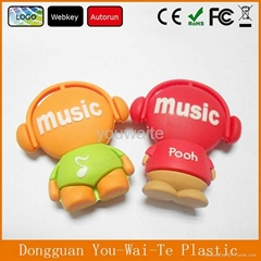 custom music boy shaped pvc usb key, cartoon usb