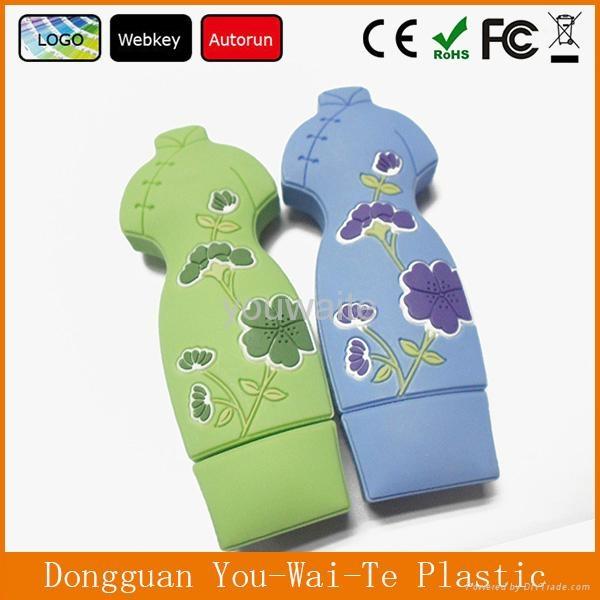 Full Capacity Cheap Cheongsam Shape PVC USB Flash Disk With Customized Logo 1