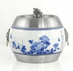 Ceramic tea caddy - ceramic stainless steel mosaic innovative technology high-en