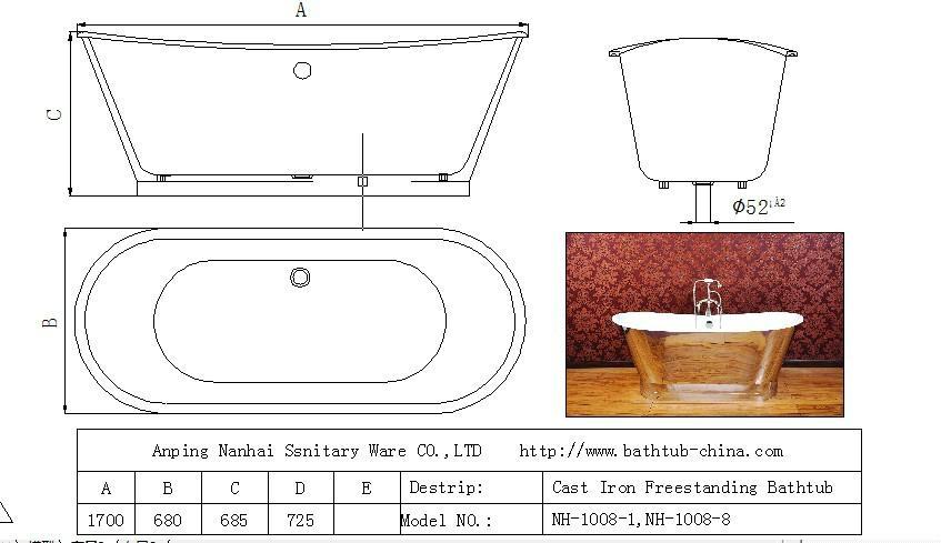 plished mirror cast iron bathtub NH-1008-8 2