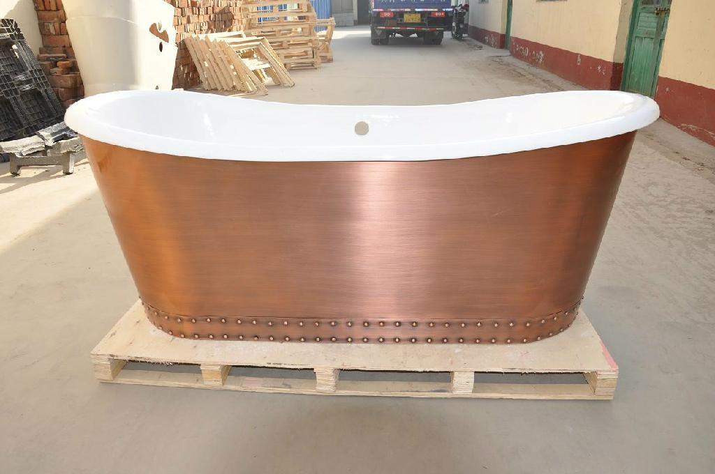 fashionable copper freestanding cast iron bathtub NH-1022-1 1